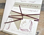 Fern Calligraphy Wedding Invitation Suite with Ribbon Tie and Monogram Tag - Champagne Gold, Blush Pink, Burgundy, Ivory (customizable)