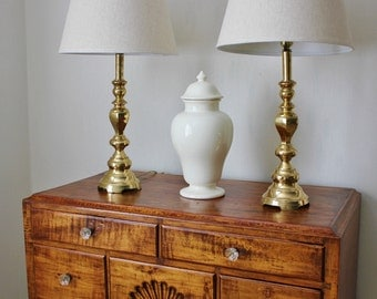 Vintage Brass Lamp Pair