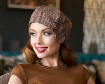 Beret Hat Flower, Beret Herringbone Wool, Plaid Beret Hat, Tweed Beret Hat Flower, Multi Color Beret Hat Wool, French Beret Flower