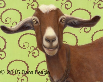 Goat Magnet - Chocolate Goat Art - Funny Animal Magnet - Proceeds Benefit Animal Charity