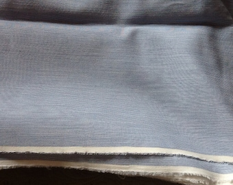 Vintage Blue and White Stripe Fabric Material Woven