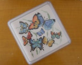 Cross Stitch Butterfly Trivet Hot Pad Handmade Multicolor