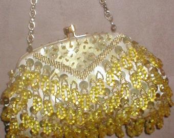 Vintage GOLD Beaded Evening Purse