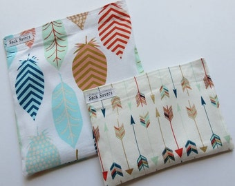 Reusable Sandwich and Snack Bag Set Eco Friendly Feathers Arrows Reusable Baggies
