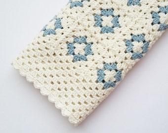 Crochet Baby Blanket, Handmade Baby Blanket, EcoFriendly Crocheted Blanket, Organic Cotton Blanket, Baby Shower Gift, Blue and White Blanket