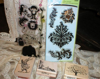 Fun Lot of Art Rubber Stamps Alice's Rabbit, Fancy Tree, Bold Damask, Label, Kid's Jungle Animals Most Unused