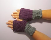 Purple and Grey or Pick Colors Fingerless Gloves - Purple and Gray Hand Knit Fingerless Gloves - Fingerless Gloves