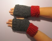Red and Grey or Pick Colors Fingerless Gloves - Deep Red and Grey Hand Knit Fingerless Gloves - Custom Fingerless Gloves