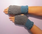 Grey and Teal or Pick Colors Fingerless Gloves - Grey and Teal Hand Knit Fingerless Gloves - Custom Fingerless Gloves