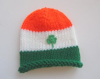 IRISH Knitted Baby Hat - Little St. Patrick's Day Hat for Your Little Leprechaun