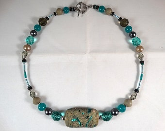 Black Gray & Turquoise Necklace with Organic Lampwork Focal Bead