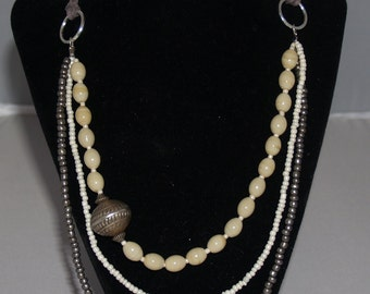 Gray, Silver & Off-white Triple Strand Glass Bead Necklace