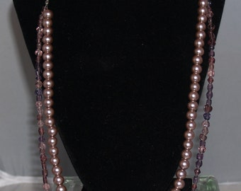 Purple Double Strand Glass Bead and Pearl Necklace