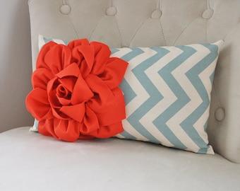 CORAL PILLOWS Coral Pillow Coral Throw Pillows Coral Pillow Cover Coral Decorative Throw Pillow Blue Oblong Lumbar Bolster Home and Living