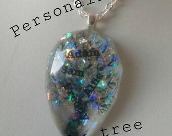 Personalised tree of life pendant, family tree pendant, personalised pendant
