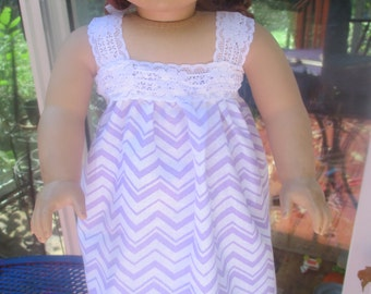 18 Inch doll lavender chevron nightgown