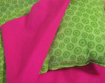 American Girl Doll Sleeping Bag, green and hot pink doll bedding for 18 inch doll