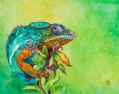 """Watercolor painting of """"Chameleon""""- Giclee print of original water color 11"""" x 14"""""""
