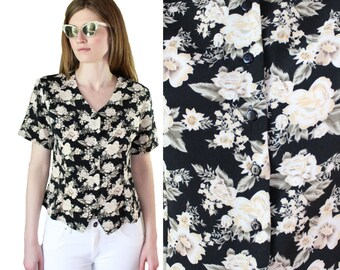 vintage 90's floral v-neck top blouse shirt black and cream gardenia