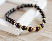 Garnet Bracelet Stretch Bracelet Marsala Dark Red Bracelet Elastic Natural Stone Gold Filled January Birthstone Gift for Her Beaded Gemstone