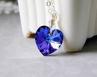 Dark Blue Heart Necklace Indigo Crystal Necklace Heliotrope Blue Necklace Swarovski Crystal Heart Pendant Sterling Silver Wire Wrapped