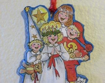 Paper-Mache' ornament : Santa Lucia Celebration