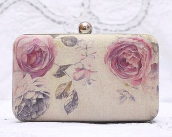 Vintage Rose Box Clutch Hand Dyed Beige Peony Pink Flower Chain Bag Prom Clutch Ivory Linen Bridesmaid Bridal Wedding Gift Retro Minaudiere