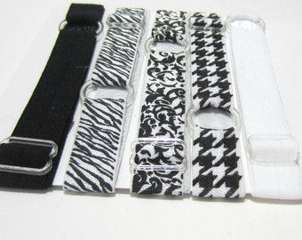 Set of 5 - Black & White Adjustable Elastic Headband, Hair Band, Girls Headband, Baby Headband, Woman Headband, Sport Headband