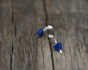 Tiny blue hearts - sterling silver ear studs
