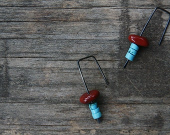 Frida - red jasper with turquoise dangle earrings - oxidized sterling silver