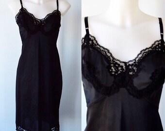 Vintage Black Full Slip, Kayser, 1960s Black Slip, 1960s Full Slip, Black Full Slip, Black Slip, Slip, 1960s Lingerie