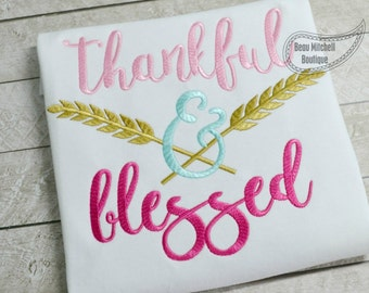 Thankful & Blessed arrow embroidery design