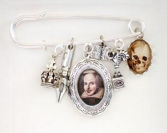 William Shakespeare Brooch-Hamlet Jewellery-Hamlet Brooch-Shakespeare Jewellery-Literary Gift-Book Lover Gift-Reader Gift-Stocking Filler