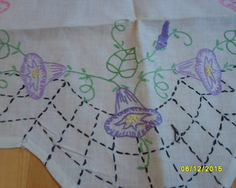 Vintage Embroidered Table Runner with Morning Glory Design