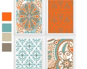 Morocco Design Pattern custom color available -Set of (4)  Modern inspired Wall Art Beige Brown Orange and Blue/ Turquoise