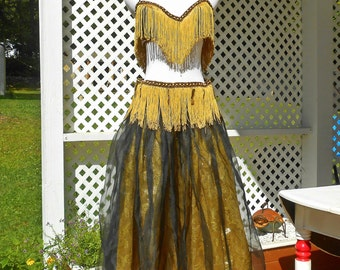 Gold and Black Belly Dance Costume Exotic Dancewear Belly Dance Skirt Belly Dance Tassel Bra Belly Dance Top Vintage Clothing