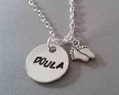 Doula Handstamped Necklace with Baby Feet Charm