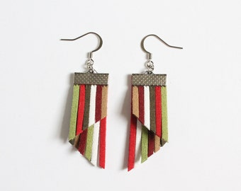 Color Stripes Earrings - Red Green White