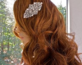 Silver Bridal Fascinator, Silver Wedding Fascinator, Silver Hair Fascinator, Silver Crystal Fascinator, Silver Crystal Fascinaror