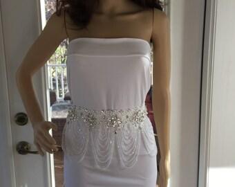 Wedding Gown Accessory, Crystal Bridal Sash,  Bridal Crystal Belt,  Wedding Gown Belt, Rhinestone Bridal Sash, Crystal  Wedding Sash