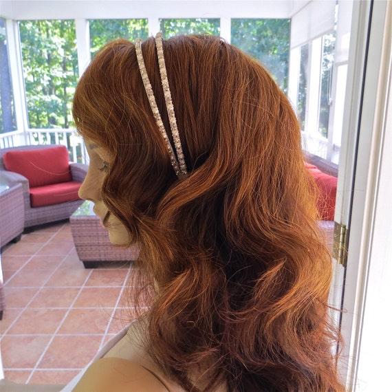 Pearl Rhinestone Headband, Double Bridal Headpiece,  Wedding Tiara