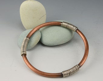 Sterling Coil and Copper Bangle ....  contemporary copper bangle METALSMITH Artisan jewelry by Mikelene