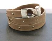 Studded Leather Bracelet , Leather Wrap Bracelet , Leather Bangle , Boho Bracelet ,  Hipster Jewelry , Gift For Men , Boyfriend Gift
