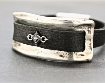 Silver Cuff , Large Bracelet , Silver Bracelet , Leather Bracelet , Statement Cuff , Organic Cuff ,  Arm Candy , Under 100 , Amy Fine Design