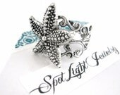 Silver Starfish Ring - Starfish Jewelry - Nautical Ring - Star Fish Ring - Adjustable Ring