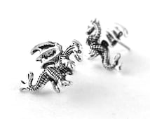 Welsh Dragon Jewelry - Silver Dragon Earrings - Fantasy Jewelry - Silver Stud Earrings - Gifts For Teen Girls
