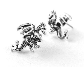 Welsh Dragon Jewelry - Silver Dragon Earrings - Fantasy Jewelry - Silver Stud Earrings - Gifts For Teen Girls 24A