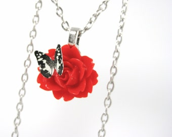 Red Rose Necklace - Botanical Necklace - Women Botanical Jewelry - Sterling Flower Necklace - Red Floral Jewelry Pendant - Gift Idea For Her