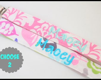 Personalized Pacifier Clip Set- YOU CHOOSE 2 Pacifiers- Snap or Universal Pacifier Clip Set