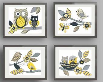Yellow gray nursery art - baby nursery kids wall art - owl nursery art - children artwork